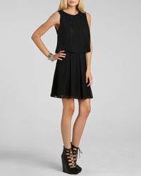 BCBGeneration Black Dress Overlay Lace Trim