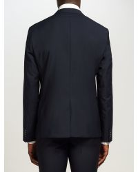 Calvin Klein Blue Plain Weave Wool Suit Jacket for men