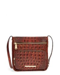Brahmin | Brown 'Tilda' Croc Embossed Leather Crossbody Bag | Lyst