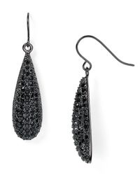 Lauren by Ralph Lauren - Black Pavé Teardrop Earrings - Lyst