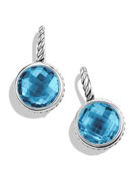 David Yurman Metallic Color Classics Drop Earrings With Blue Topaz