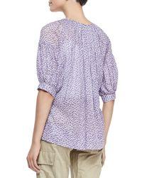Michael Kors - Multicolor Floral Drop-shoulder Cotton Blouse - Lyst