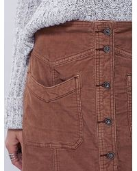 Free People Brown Hold My Hand Cord Skirt