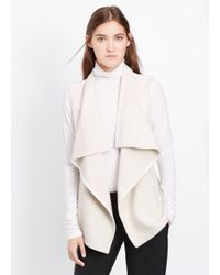 Vince | White Wool Blend Drape Neck Vest With Leather Trim | Lyst