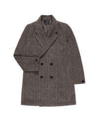 Paul Smith - Gray Men's Light Brown Double-breasted Wool-blend Check Coat for Men - Lyst
