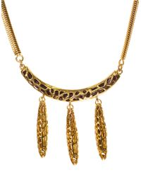 Kara Ross | Metallic Goldtone Arc Pendant Necklace With Dangling Spikes | Lyst