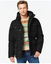 Tommy Hilfiger | Black Big & Tall Field Coat With Hood for Men | Lyst