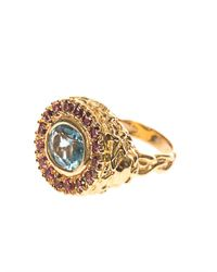 Jade Jagger - Blue Aquamarine Ruby Yellowgold Ring - Lyst