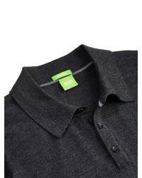 BOSS Gray Boss Green C-camus Wool Button Jumper for men