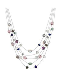 Style & Co. - Multicolor Silvertone Beaded Five Row Illusion Necklace - Lyst