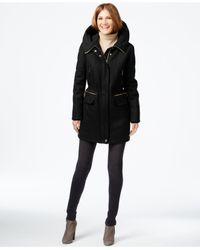 Calvin Klein | Black Hooded Wool-blend Anorak Coat | Lyst