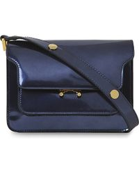 Marni Blue Trunk Mini Metallic Leather Shoulder Bag