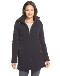 Gallery Blue Hooded Quilted Coat
