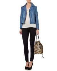 Biba | Blue Leather Biker Jacket | Lyst
