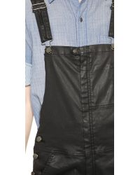 Current/Elliott The Ranchhand Coated Overalls - Black Coated
