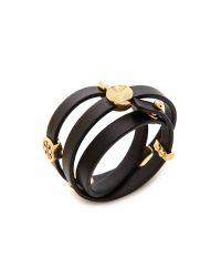 Tory Burch | Livia Leather Triple Wrap Bracelet Blackshiny Brass | Lyst