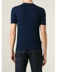 Giorgio Armani - Blue Knitted T-Shirt for Men - Lyst
