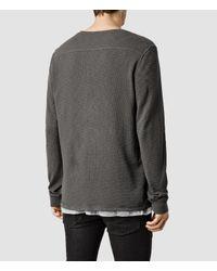 AllSaints - Gray Clash Long Sleeved Henley for Men - Lyst