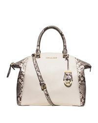 Michael Michael Kors Leather Riley Large Python Embossed