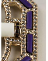 Etro Purple Ribbon and Pendant Necklace