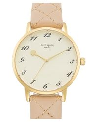kate spade new york | Natural 'metro' Quilted Leather Strap Watch | Lyst