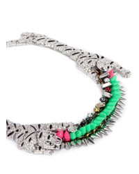 Venna - Multicolor Crystal Pavé Tiger Spike Crystal Necklace - Lyst