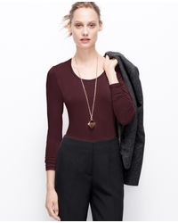 Ann Taylor - Brown Petite Scoop Neck Long Sleeve Tee - Lyst