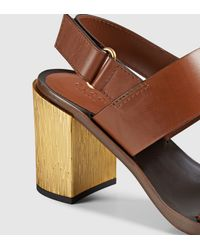 Gucci | Brown Leather Mid-heel Sandal | Lyst