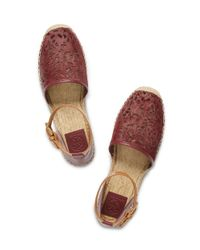 Tory Burch - Red Clarisse Flat Espadrille Sandal - Lyst