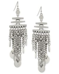 Vince Camuto - Metallic Silver-tone Chain And Disc Earrings - Lyst