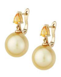 Belpearl Metallic Yellow Sapphire  Golden South Sea Pearl Earrings