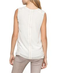 Andrew Marc | White Faux Leather Trimmed Tank | Lyst