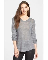 Eileen Fisher - Metallic Shaped Linen Jersey V-Neck Top - Lyst