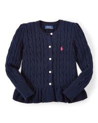 Ralph Lauren | Blue Combed Cotton Peplum Cardigan | Lyst