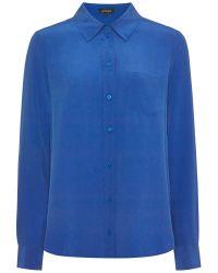 Jaeger Blue Silk One Pocket Blouse