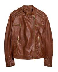 Violeta by Mango Brown Multi Pocket Leather Jacket