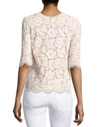 Stella McCartney - Natural Floral Lace Short-sleeve Top - Lyst