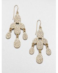 ABS By Allen Schwartz | Metallic Pavé Chandelier Earrings | Lyst