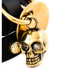 Alexander McQueen Black Double Wrap Skull Bracelet