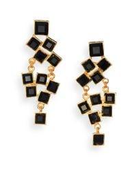 Kenneth Jay Lane | Metallic Square-cut Cluster Chandelier Earrings/black | Lyst