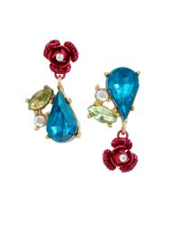 Betsey Johnson | Multicolor Floral Cluster Earrings | Lyst