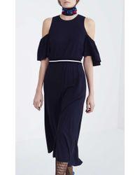 Tanya Taylor Blue Exposed Shoulder Shiloh Dress