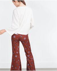 Zara | White Bell Sleeve Sweatshirt | Lyst