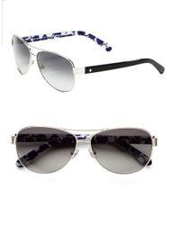 kate spade new york | Metallic 58Mm Dalia Teardrop Aviator Sunglasses | Lyst