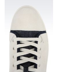 Armani Jeans | White High Top Sneaker In Suede And Denim for Men | Lyst
