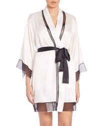 Josie Natori - Natural Silk Sheer-inset Wrap Robe - Lyst