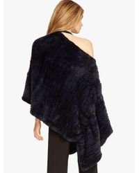 Halston Blue Convertible Fur Poncho Sweater