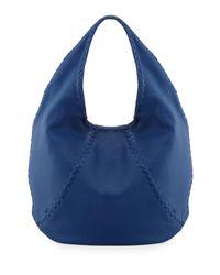 Bottega Veneta Medium Wovendetail Cervo Hobo Bag Electrique Blue