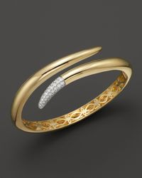 Roberto Coin | Metallic 18k Yellow Gold Snake Bangle With Diamonds, .60 Ct. T.w. | Lyst
