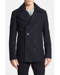 Burberry Brit - Blue Burberry 'eckford' Wool & Cashmere Peacoat for Men - Lyst